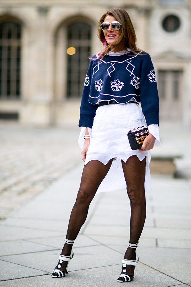 navy-top-white-skirt-sheer-black-tights-street-style