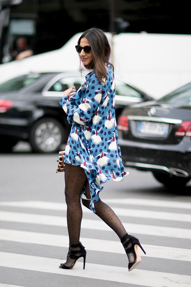 printed-dress-sheer-tights-heels-street-style