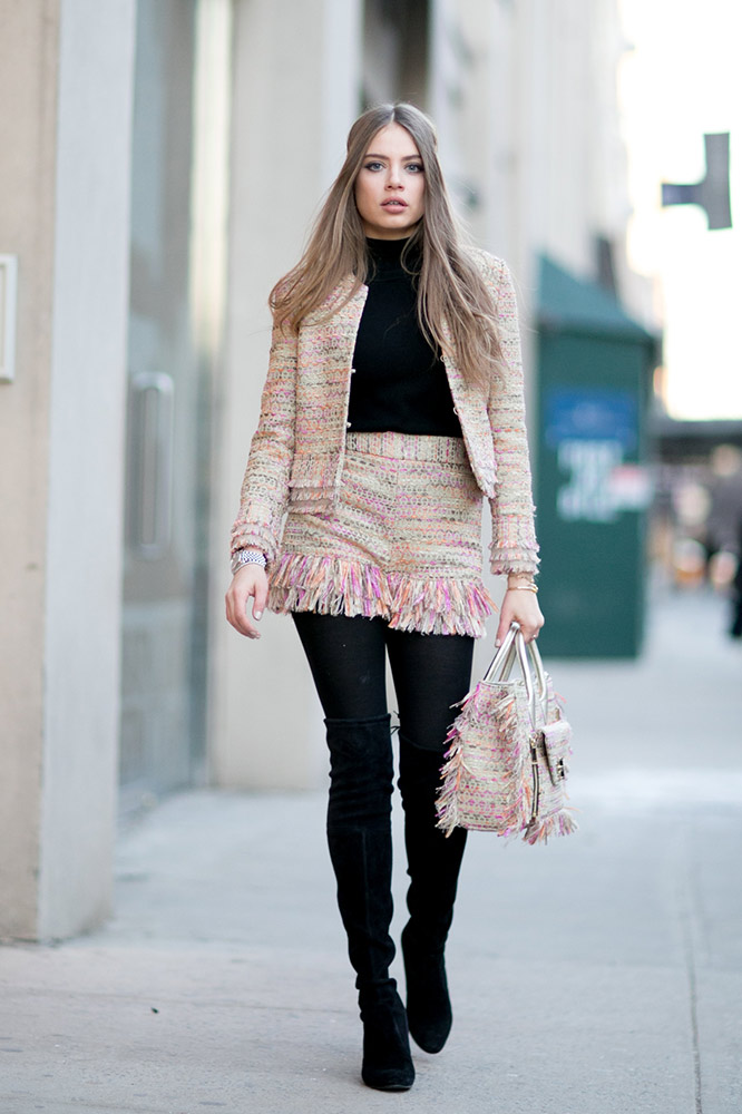 tweed-coordinates-black-top-boots-tights-street-style