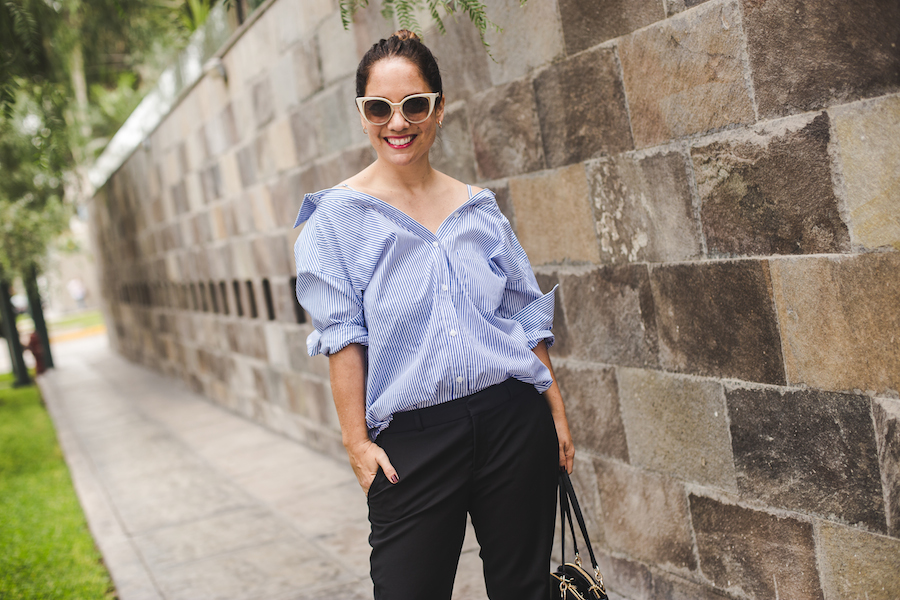 Tamalee' shirt - Blusa Olympia Banana Republic black trousers - Fendi sunglasses -  La Vida de Serendipity
