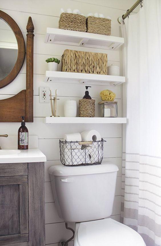 small bathroom storage ideas - cómo aprovechar el espacio en baños pequeños 1