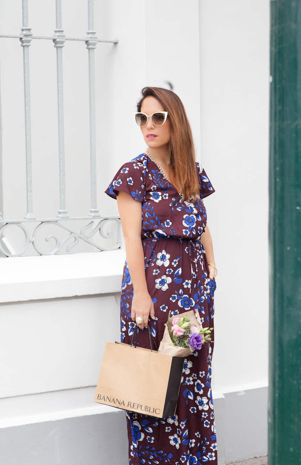 La vida de Serendipity - Banana Republic Maxi Floral Dress - Fendi Sunglasses -  4