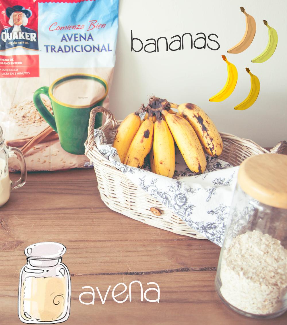 Receta panqueques de plátano con avena 2