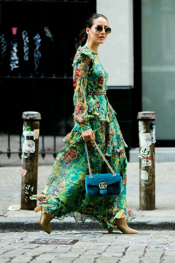 floral dress trend 2017 street style