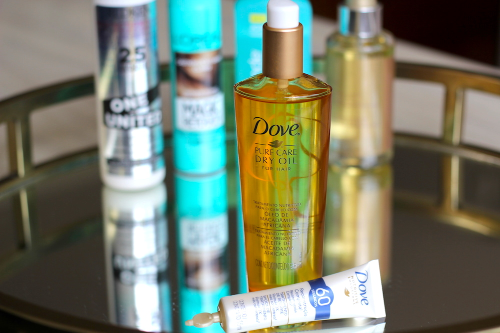 top beauty products Dove Dry Oil - John Frieda Sea Salt - Redken 25 Benefits - Loreal Magic Retouch - Well Luxe Oil 1