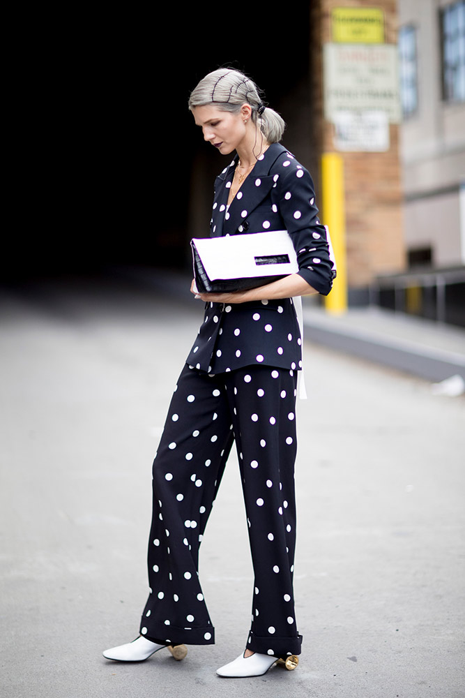 polka dot suit style for business