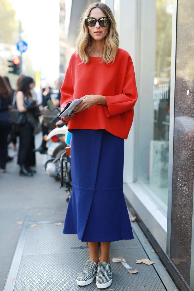 wrap effect skirt MFW-Street-Style-Day-5-14