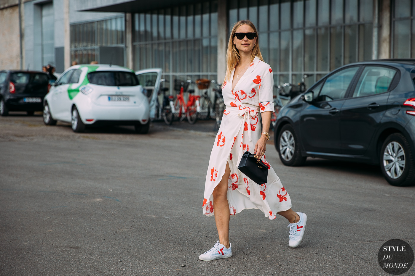 wrap dress + sneakers trend 2018