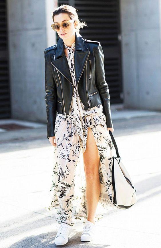 vestido largo + zapatillas + casaca de cuero