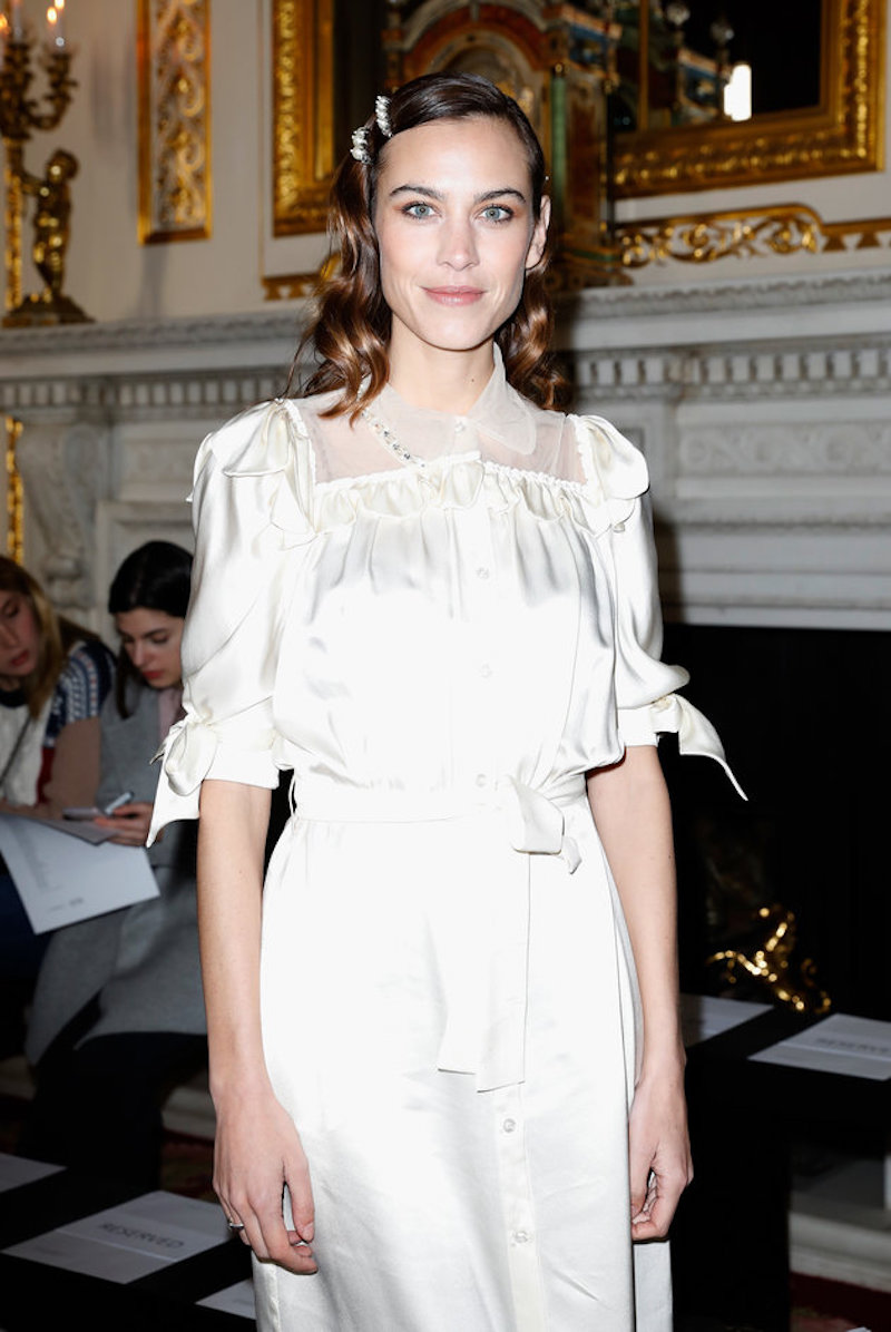 alexa Chung hair clip trend 2019 Romantic dress